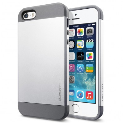 Накладка SGP Slim Armor Metal Series для iPhone 5, 5S - серебряная