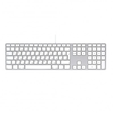 Расширенная проводная клавиатура Apple Wired Keyboard + Numeric Keypad, без картонной упаковки (Раскладка - US / RU, официальная гравировка кириллицы)