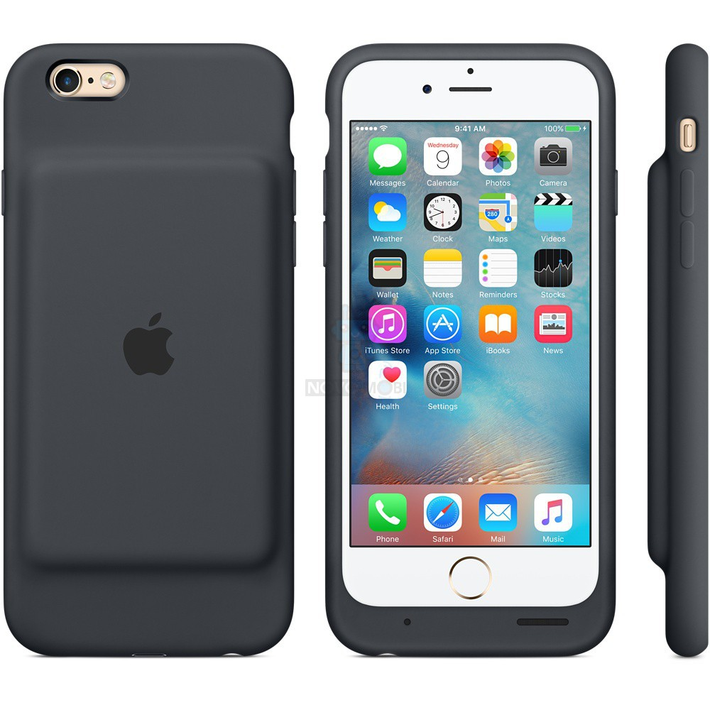 Чехол-батарея Apple Smart Battery Case для iPhone 6 / iPhone 6S - тёмно-серая (1877 мАч) — фото 2
