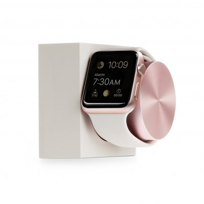 Элитная, подставка / док-станция Native Union DOCK, Stone & Rose Gold для Apple Watch - белая с розовым