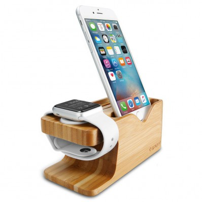 Подставка из бамбука, Spigen Bamboo Charging Stand Dock Station для Apple Watch и iPhone