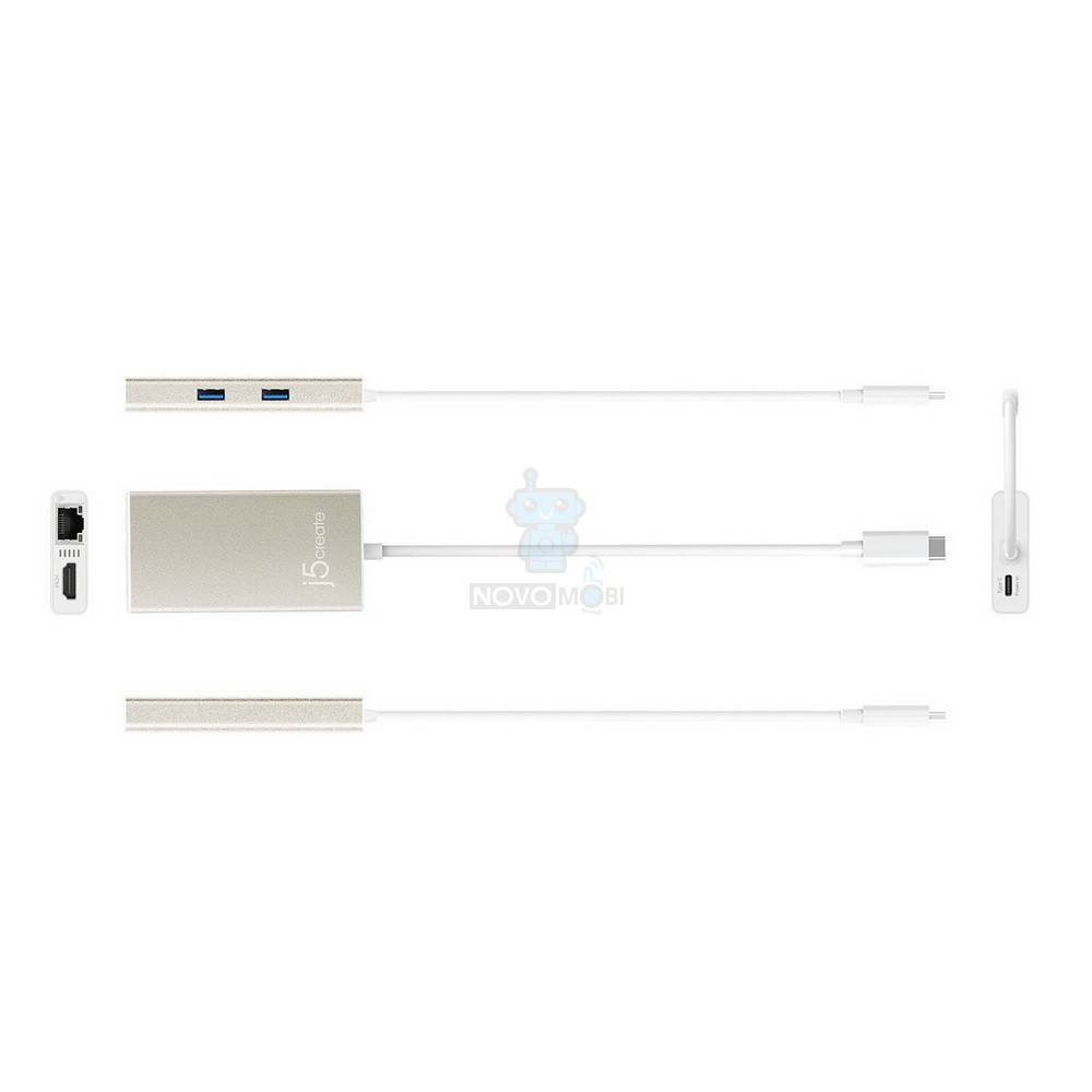 Мультиадаптер J5create USB Type-C HDMI/Ethernet/USB 3.0 HUB/PD 2.0 — фото 3