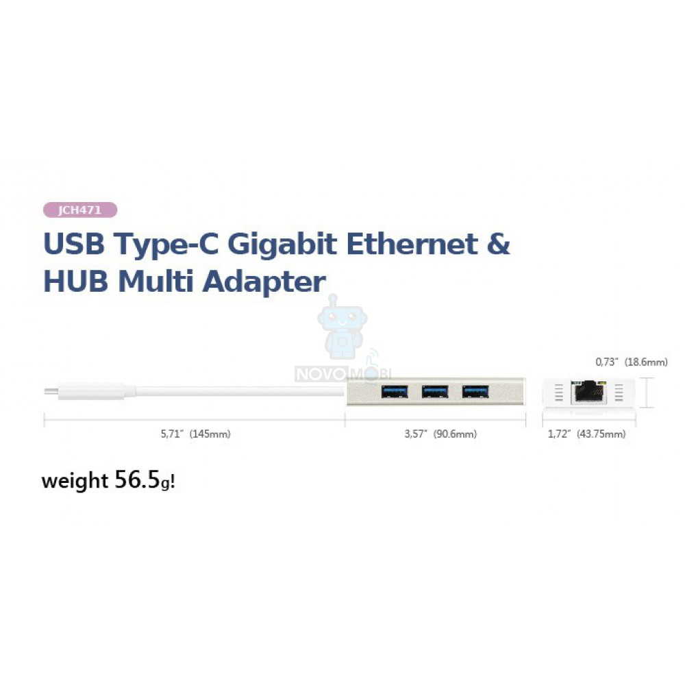 Мультиадаптер J5create USB Type-C Gigabit Ethernet & HUB Multi Adapter — фото 6