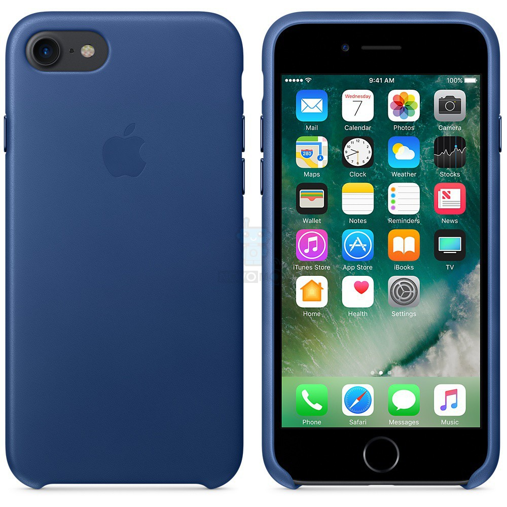 Кожаная накладка Apple Leather Case Sapphire для iPhone 7 - синий сапфир — фото 3