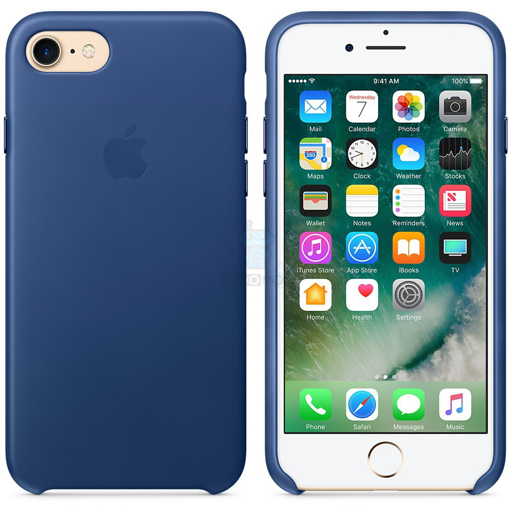 Кожаная накладка Apple Leather Case Sapphire для iPhone 7 - синий сапфир — фото 5