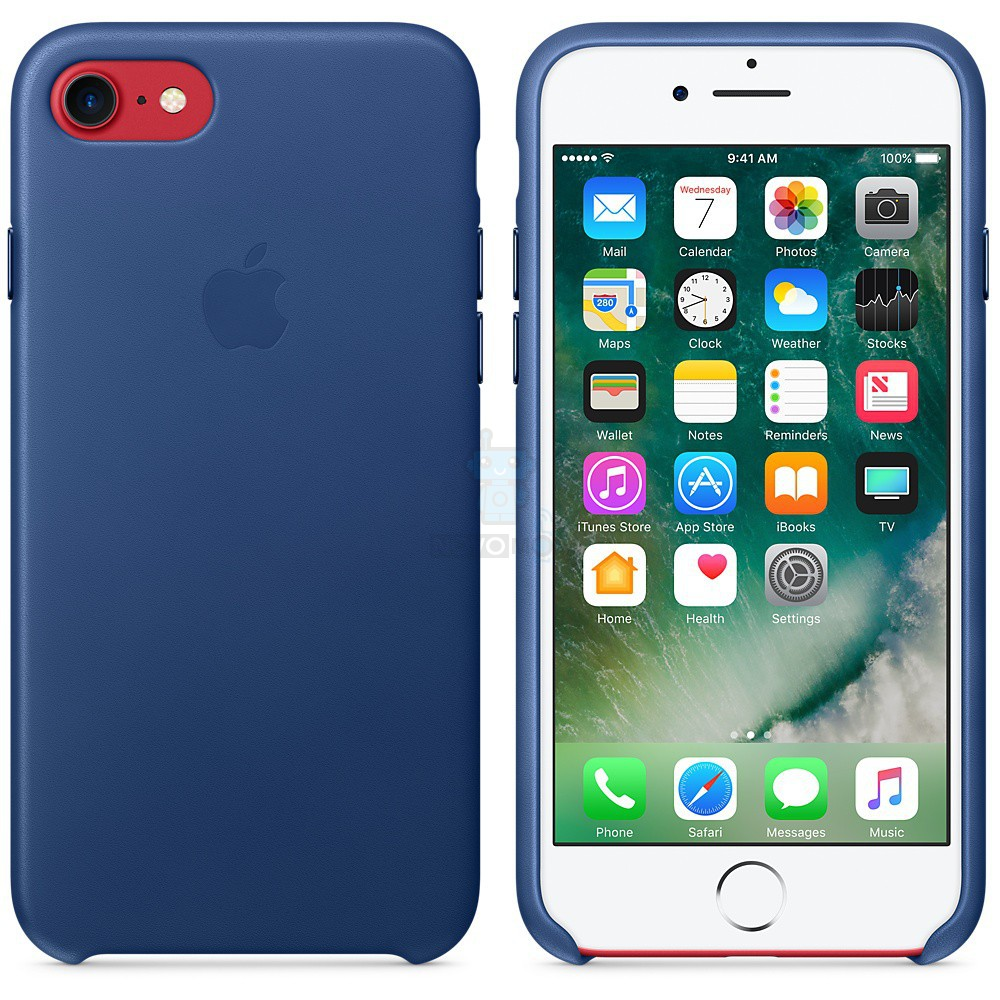 Кожаная накладка Apple Leather Case Sapphire для iPhone 7 - синий сапфир — фото 7