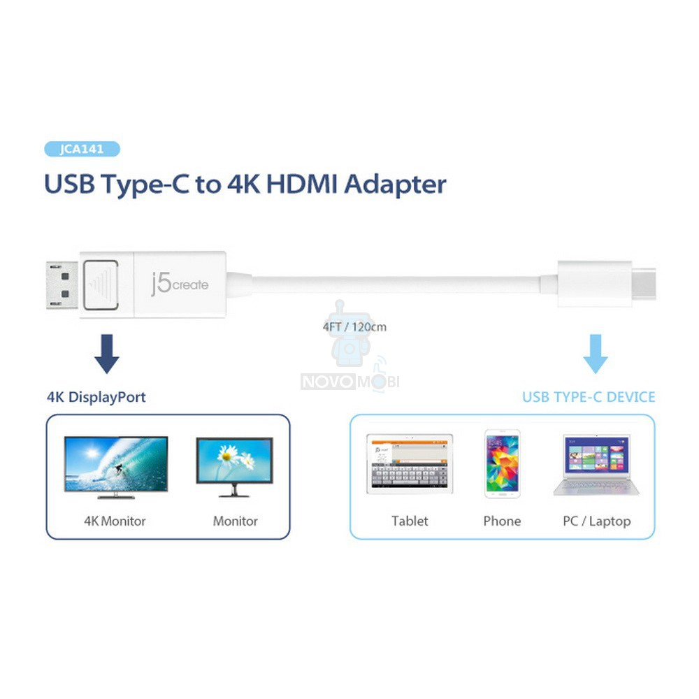 Кабель-адаптер, j5create USB Type-C на 4K DisplayPort Cable (Длина - 1.2 метра) — фото 3