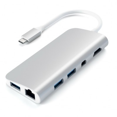 Порт-репликатор в алюминиевом корпусе, Satechi Aluminum Type-C Multimedia Adapter Silver для MacBook с разъемом USB-C (HDMI; mini DisplayPort; SD/ microSD CardReader; USB 3.0x 3; USB-C Transfer; Gigabit Ethernet) - серебряный
