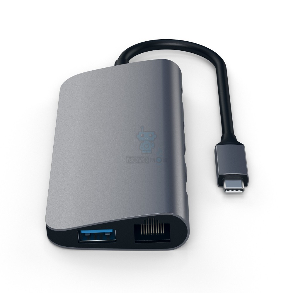 Порт-репликатор в алюминиевом корпусе, Satechi Aluminum Type-C Multimedia Adapter Space Gray для MacBook с разъемом USB-C (HDMI; mini DisplayPort; SD/ microSD CardReader; USB 3.0x 3; USB-C Transfer; Gigabit Ethernet) - цвет «Серый космос» — фото 4