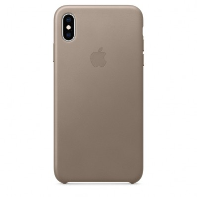 Кожаная накладка Apple Leather Case Taupe для iPhone XS Max - платиново-серая