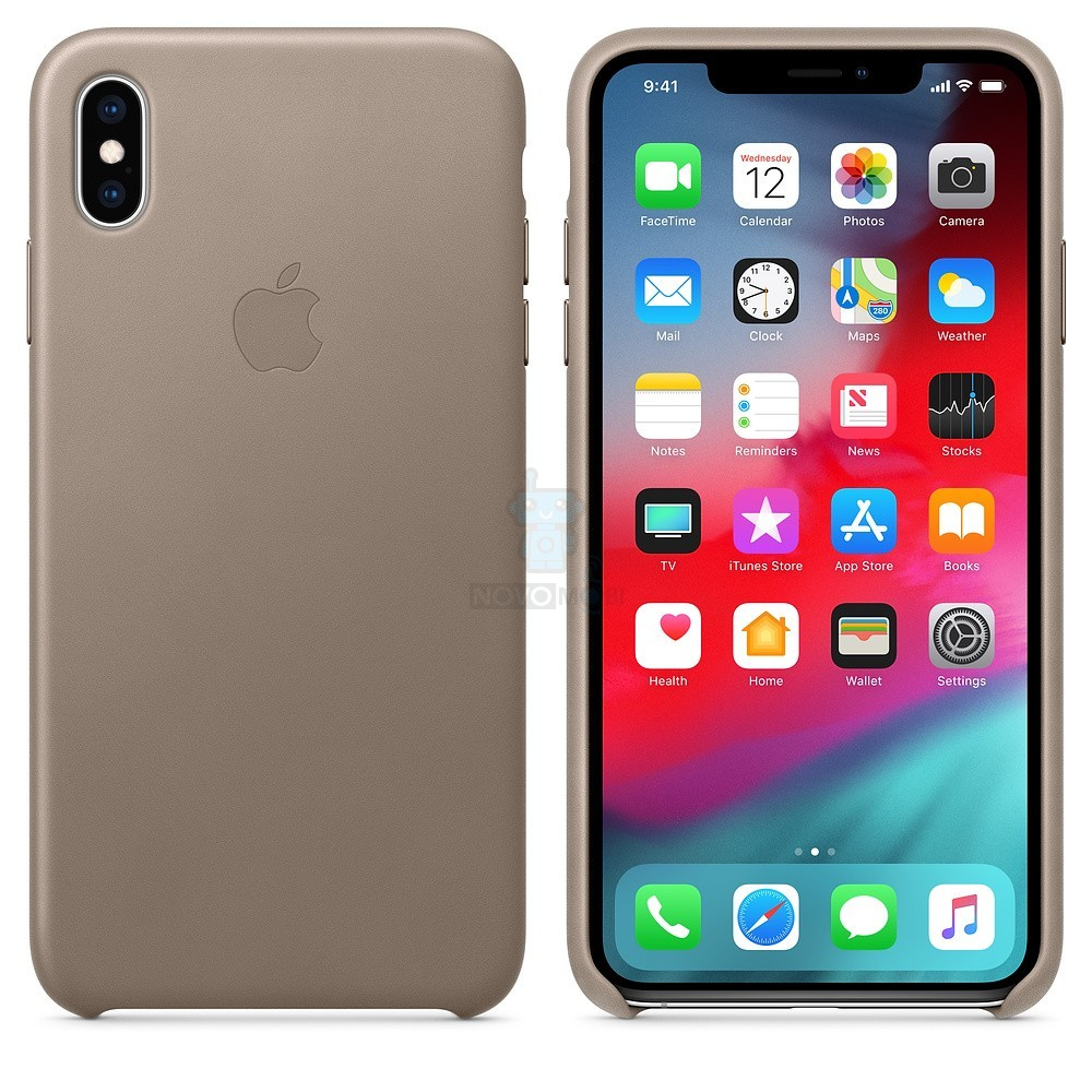 Кожаная накладка Apple Leather Case Taupe для iPhone XS Max - платиново-серая — фото 3