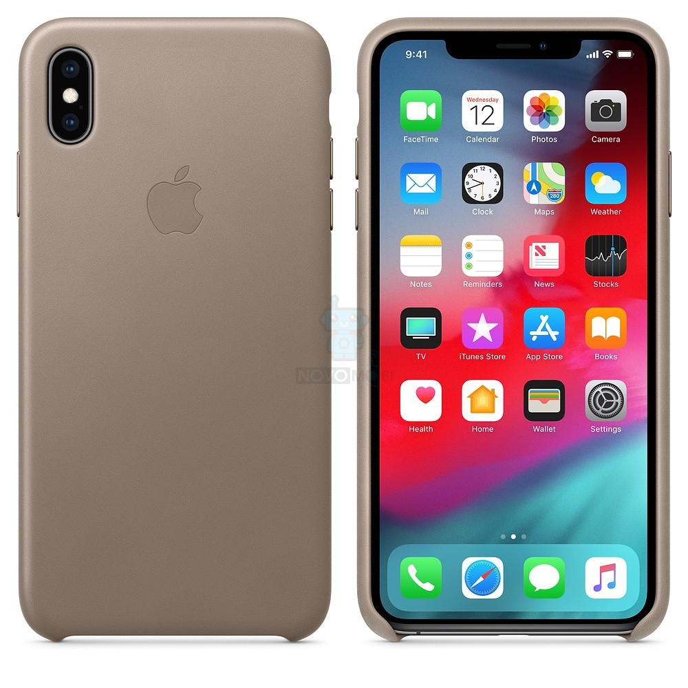 Кожаная накладка Apple Leather Case Taupe для iPhone XS Max - платиново-серая — фото 4