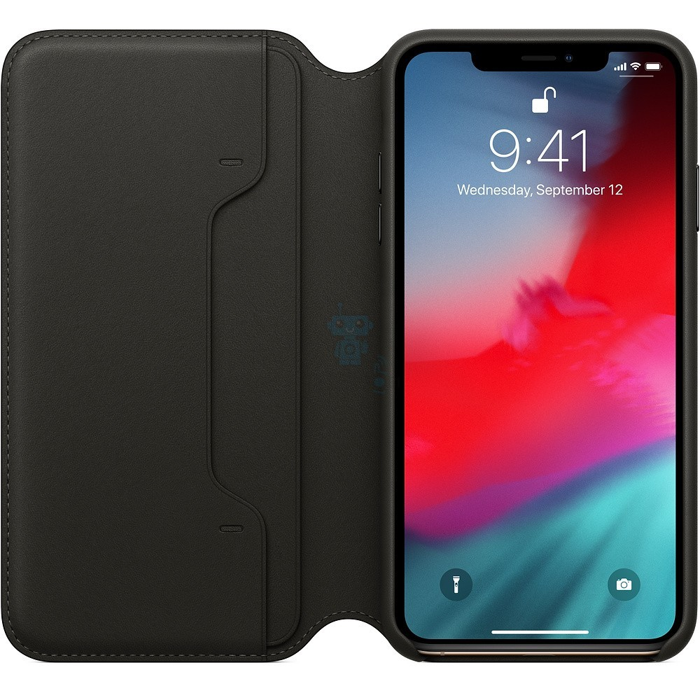 Чехол из натуральной кожи, Apple Leather Folio Black для iPhone XS Max - чёрная — фото 2