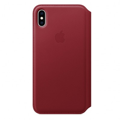 Чехол из натуральной кожи, Apple Leather Folio (PRODUCT)RED для iPhone XS Max - красная