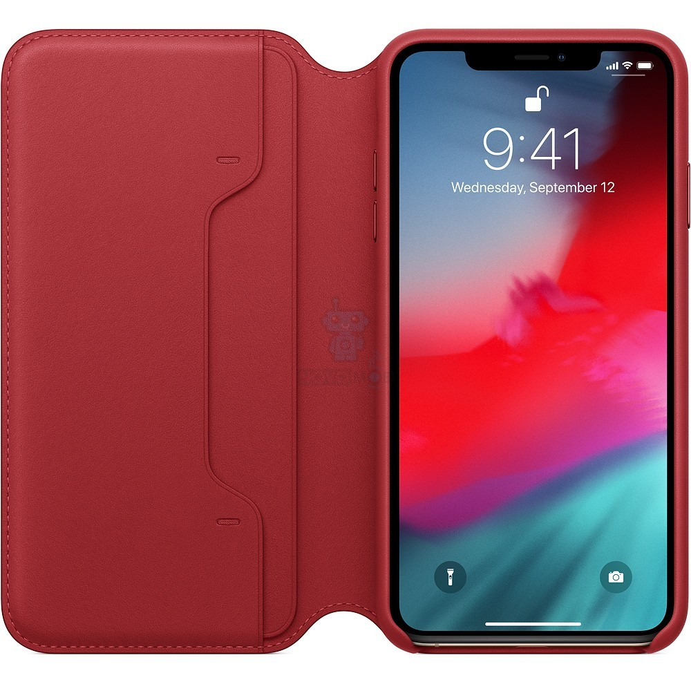 Чехол из натуральной кожи, Apple Leather Folio (PRODUCT)RED для iPhone XS Max - красная — фото 2