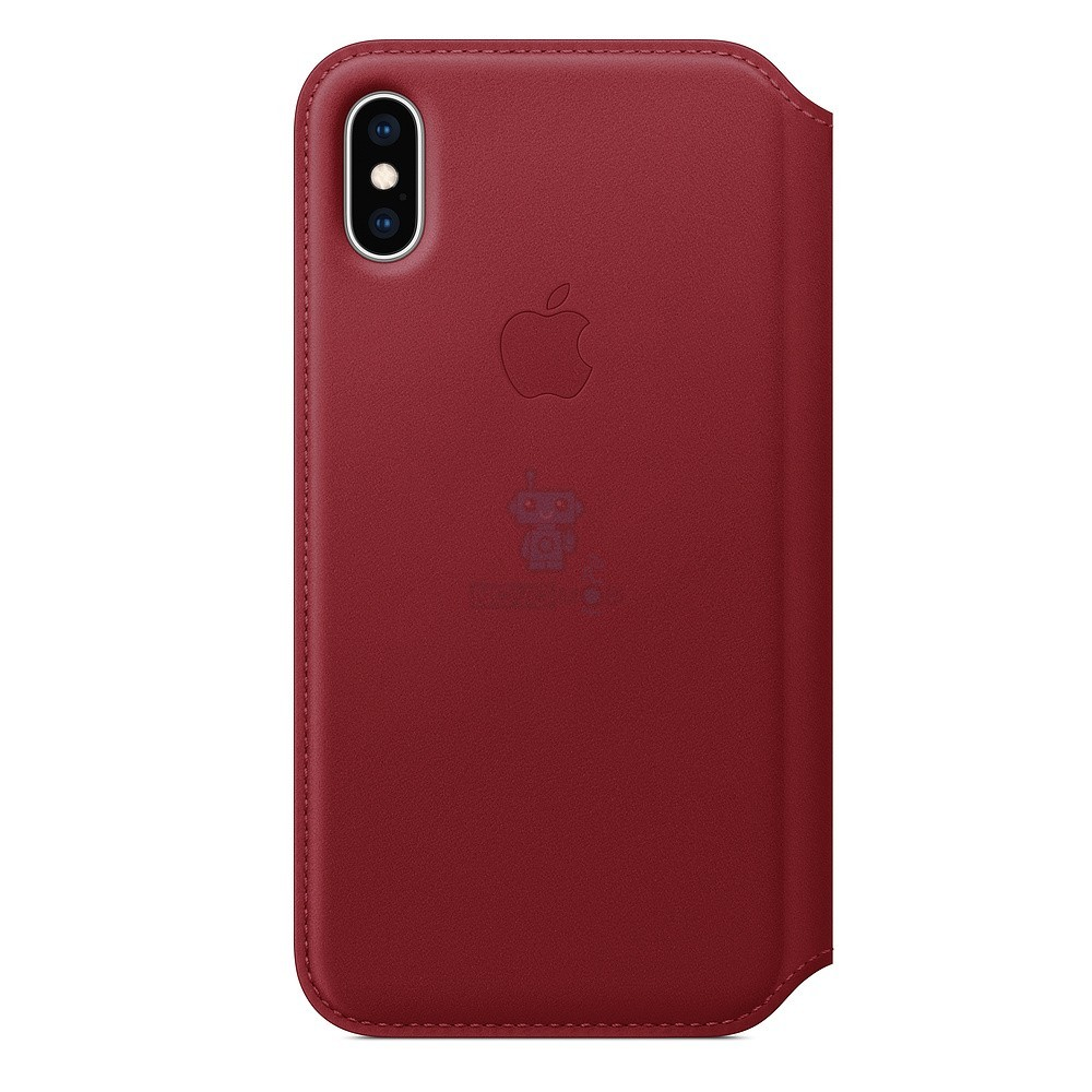 Чехол из натуральной кожи, Apple Leather Folio (PRODUCT)RED для iPhone XS - красная