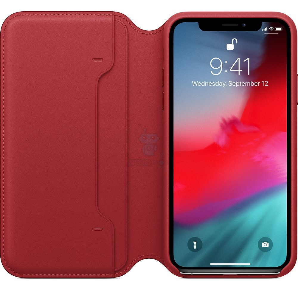 Чехол из натуральной кожи, Apple Leather Folio (PRODUCT)RED для iPhone XS - красная — фото 3