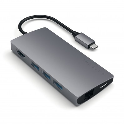 Порт-репликатор Satechi Type-C Multi-Port Adapter 4K with Ethernet V2 Space Gray с разъемом USB-C (HDMI; SD/ microSD CardReader; USB 3.0x 3; USB-C Transfer; Gigabit Ethernet) - цвет «cерый космос»