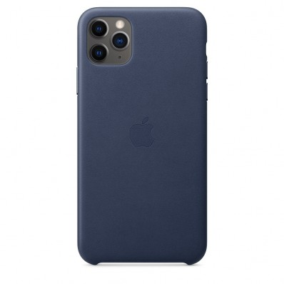 Кожаная накладка Apple Leather Case Midnight Blue для iPhone 11 Pro Max - тёмно-синего цвета