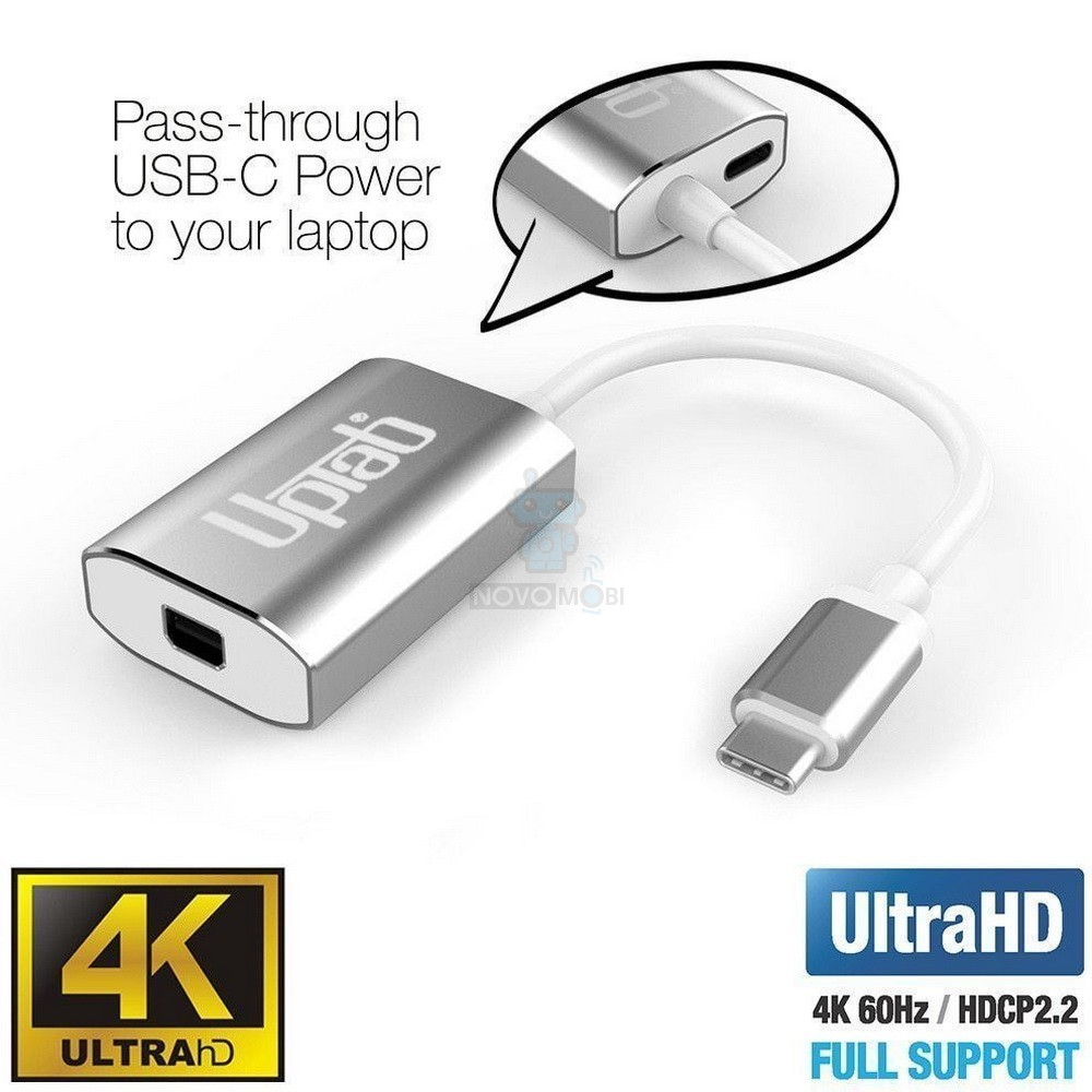 Адаптер для подключения Apple LED Cinema Display к MacBook / iMac с USB-C разъемами, UPTab USB 3.1 Type-C в mini DisplayPort + Power Delivery - серебряный (4K / 60Hz) — фото 3